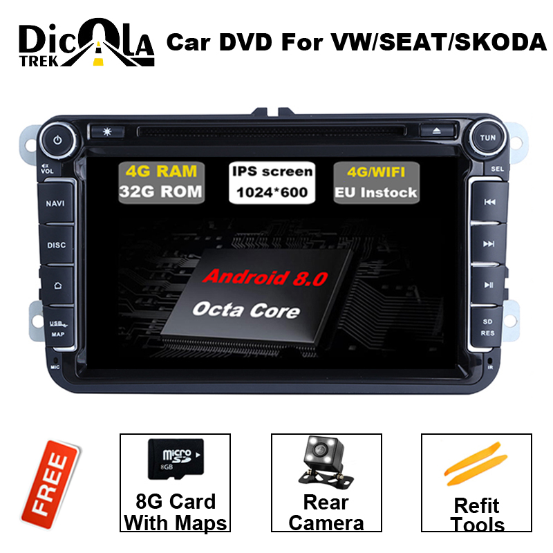 2 din Android 8.0 Octa Core 4GB RAM Car DVD for VW Passat CC Polo GOLF 5 6 Touran EOS T5 Sharan Jetta Tiguan GPS Radio BT RDS joying 2 din android 8 0 car stereo 8 inch 4gb ram auto gps with free rear view camera bt for volkswagen vw polo passat golf 456