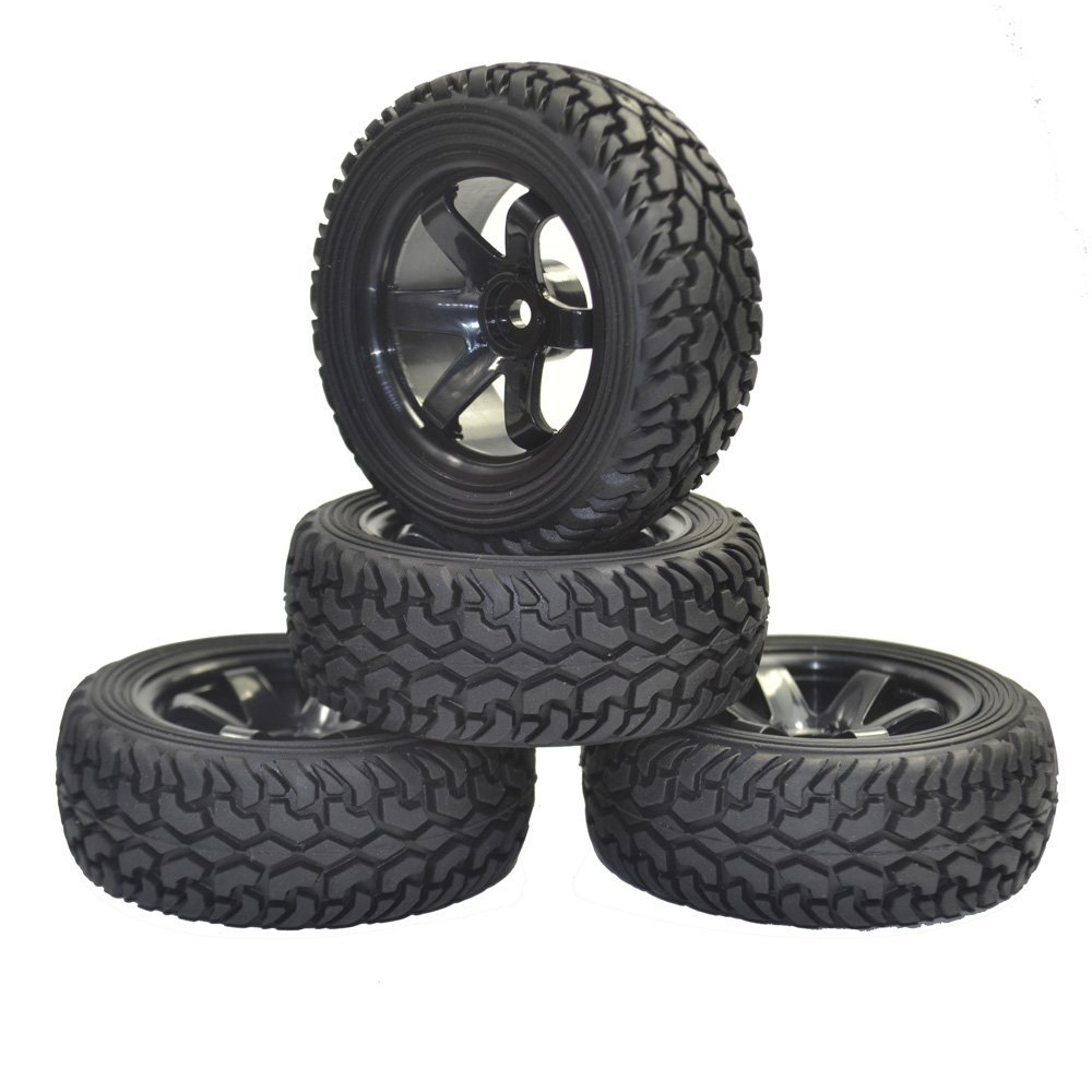 1/10 4PCS High Performance RC Rally Car Grain Rubber tires and Wheels for 1:10 1:16 RC On Road Car Traxxas Tamiya HSP HPI Kyosho 4pcs rc monster truck wheel rim tires kit for 1 10 traxxas tamiya hsp hpi kyosho rc trucks car rubber tyre parts