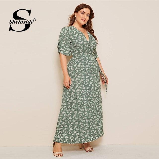 Sheinside Plus Size Boho V Neck Wrap Dress Women 2019 Summer Half Sleeve A Line Dresses Ladies Floral Print Side Slit Maxi Dress 4