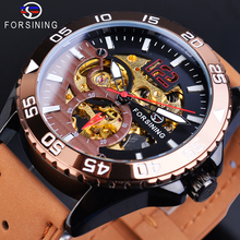 Forsining Mens Watch 2019 New Automatic Genuine Brown Leather Strap Belt Skeleton Waterproof Sport Mechanical Military Watches