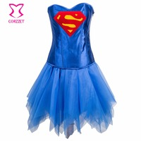 Women Superhero Corset Dress Burlesque Costumes Blue Satin Corsets and Bustiers Sexy Gothic Clothing Corpete E Corselet Overbust
