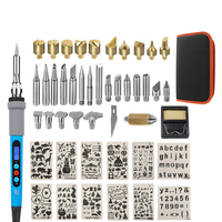 48pcs Wood Burning Kit with with LCD Display and work bag Carving Embossing Soldering Tips Wood Craft Tool pyrography wood pen