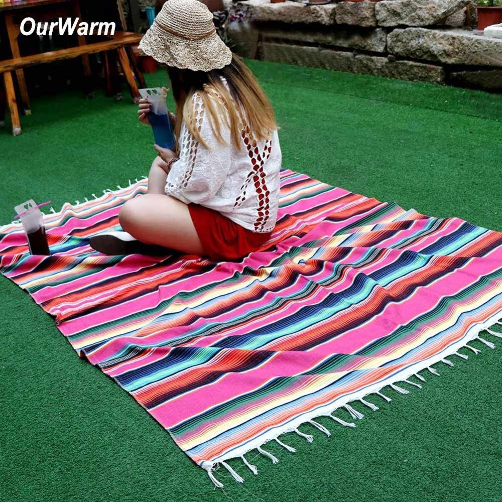 OurWarm Mexicain Main couverture en coton De Mariage nappe de table Style Mexicain Couverture Voyage Camping Bébé Jouer housse de lit 150X215 cm
