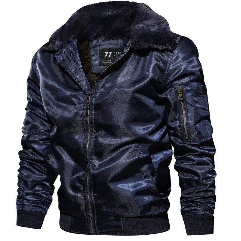 Image 4 - Men's Tactical Pilot Bomber Jacket Winter Autumn Warm Military Flight Jackets Fur Collar Army Motorcycle Parkas Fleece Coats Men-in Jackets from Men's Clothing