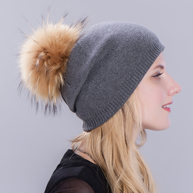 HEE GRAND/женская шапка, зимние вязаные шапки унисекс из шерсти енота, шапки с перьями для мужчин, меховая шапка куполообразная, Прямая поставка PMT089