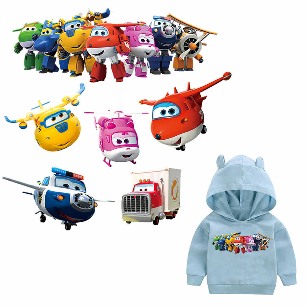 Multi Plane Helicopter Cartoon Heat Transfers For Family Children Clothes DIY Appliques Washable Ironing Sticker Trucks Patches