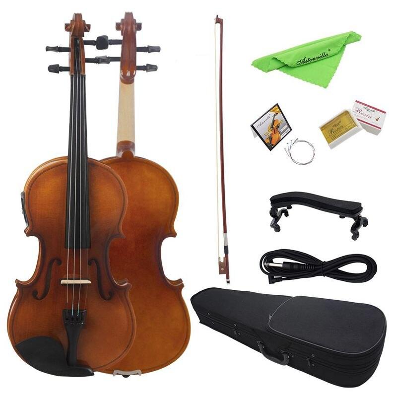 Astonvilla AV-E03 4/4 Full Size Acoustic Violin Fiddle Kit Solid Wood Matte Finish Spruce Face Board 4-String Instrument 2#