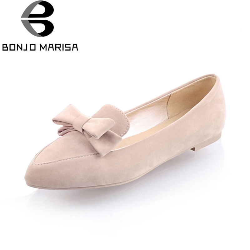 BONJOMARISA 2018 Summer Sweet Bow Flats Women slip-on Shallow Loafers Shoes Woman Big Size 34-43 Women Daily Casual Shoes siketu sweet bowknot flat shoes soft bottom casual shallow mouth purple pink suede flats slip on loafers for women size 35 40