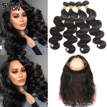 Styleicon 360 Lace Frontal with Bundle Brazilian Body Wave Bundles with Frontal Non-Remy Hair with Lace Frontal Free Shipping image