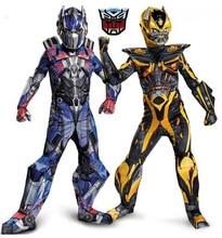 Nueva optimus prime bumblebee superhero muscle full body suits disfraces de carnaval disfraces cosplay traje de los muchachos niños de los niños(China (Mainland))