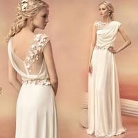 Robe de Soiree Sexy Sheer Greek Goddess Chiffon Long Evening Dress 2016 White Appliques Flowers Evening Gowns Vestidos de Baile