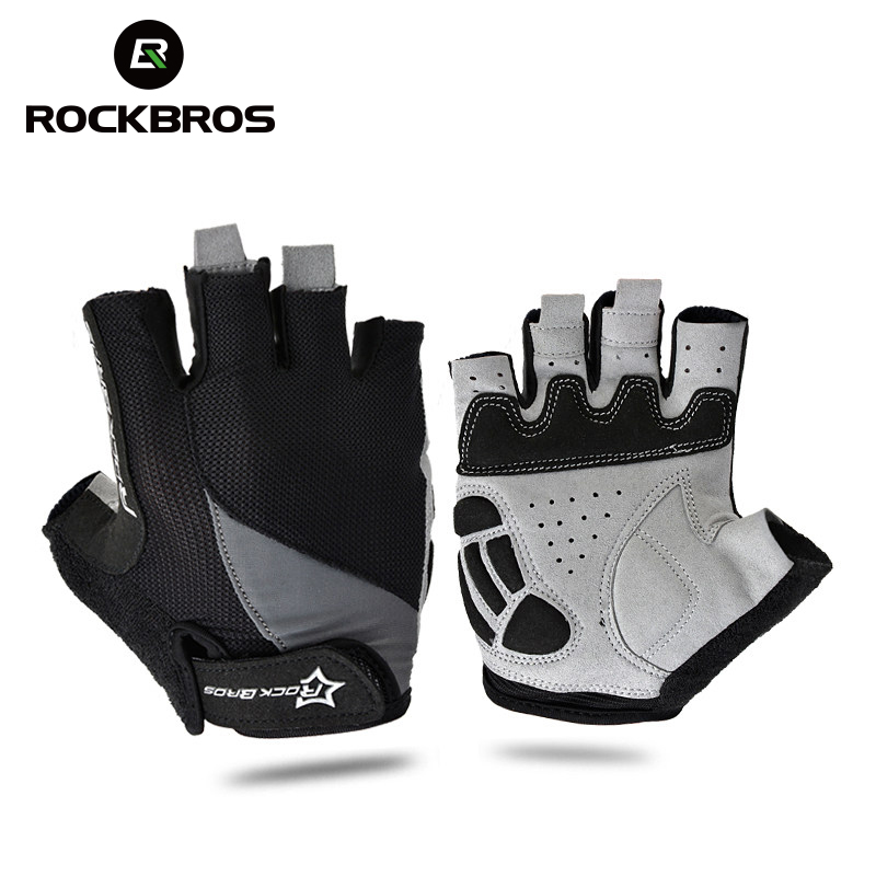 ROCKBROS Cycling Anti-slip Anti-sweat Men Women Half Finger Gloves Breathable Anti-shock Sports Gloves MTB Bike Bicycle Glove mtwe9018 anti slip half finger bicycle riding cycling gloves blue grey black xl size pair