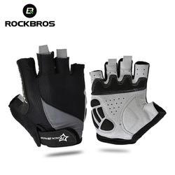 ROCKBROS Велоспортный против скольжения анти-пот Для мужчина женщина половины пальцев перчатки дышащие анти-шок спортивные перчатки MTB
