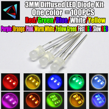 US $1.08 6% OFF|100pcs 3mm Misty LED Diffused Kit 3 mm 3V Warm White Green Red Blue Yellow Orange Purple UV Pink Fast Slow RGB 10 colors-in Diodes from Electronic Components & Supplies on Aliexpress.com | Alibaba Group