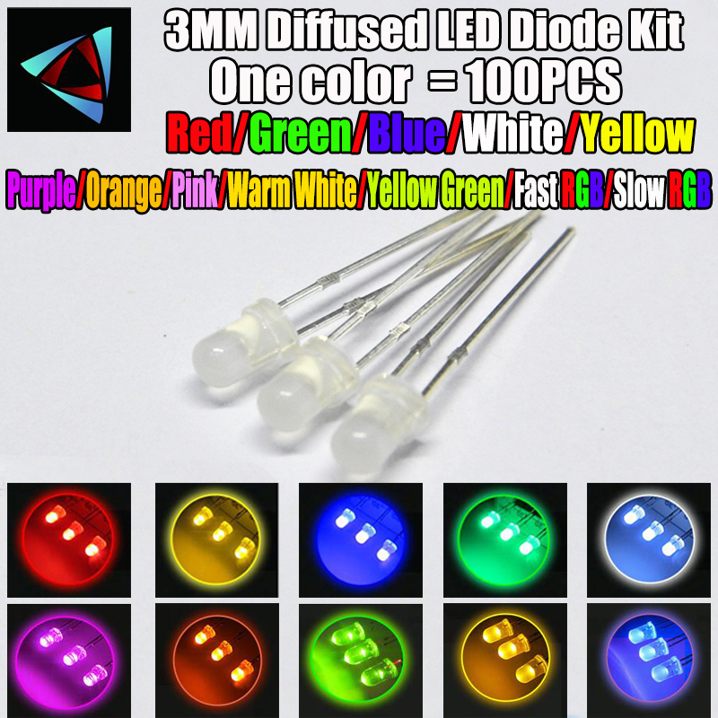 Diodes Just 3mm Diffused Light-emitting Diode Led White Red Green Blue Yellow Orange 20ma 3v 3 Mm Lamp Assorted Kit Set Pack