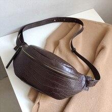 Fashion Women's Chest Bags New Trend Crocodile Crossbody Messenger Bag PU Leather Ladies Bags Banana Waist Shoulder Bag Female