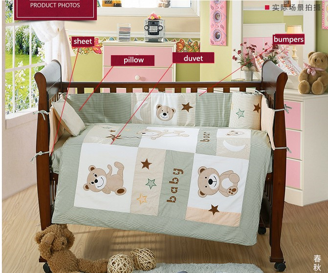 4PCS embroidery Cotton crib bedding set with Quilt Baby Bed Sheet ,include(bumper+duvet+sheet+pillow)