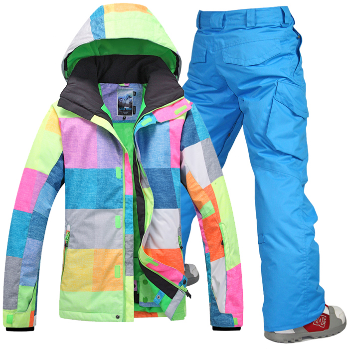 2014 Gsou snow mens snow suit ski suit set professional thermal outdoor skiing clothing set colorful grid jacket and blue pants gsou snow ski suit for women skiing suit winter outdoor sports clothes snowboard set camouflage ski jacket and pants multicolor