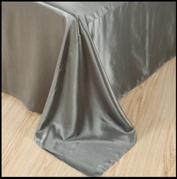 Silver grey silk bedding set satin sheets queen full quilt doona duvet cover bed linen super king size double single bedspreads in Bedding Sets from Home Garden