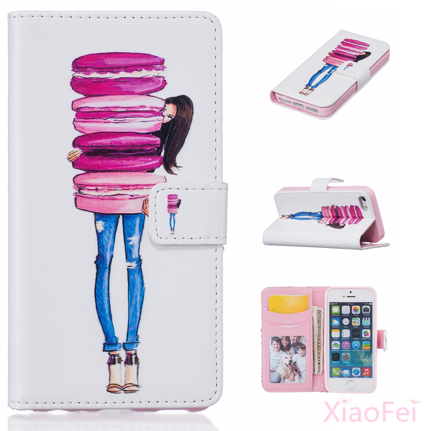 2016 Hot Sale Wallet PU Leather Case For Iphone 5 &5S SE Flip Wallet Cover Bag Diary Leather Wallet Flip With Stand Cover Cases