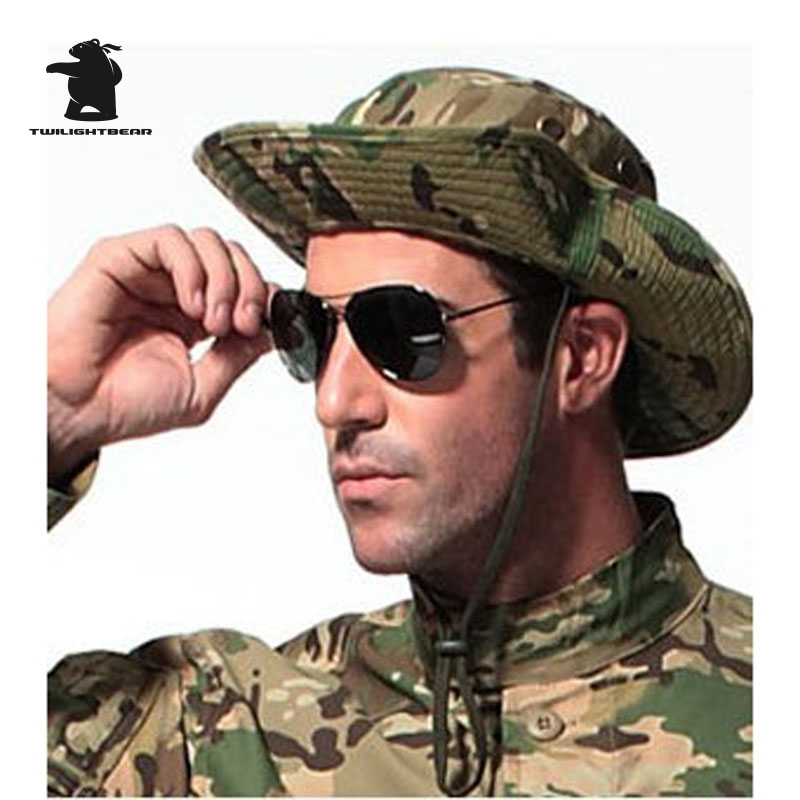915e54970b5 Top Quality Thicken MULTICAM HAT Military Camouflage BOONIE HAT Bucket Hats  For Hunting Hiking Climbing Camping 20 Colors A15F1