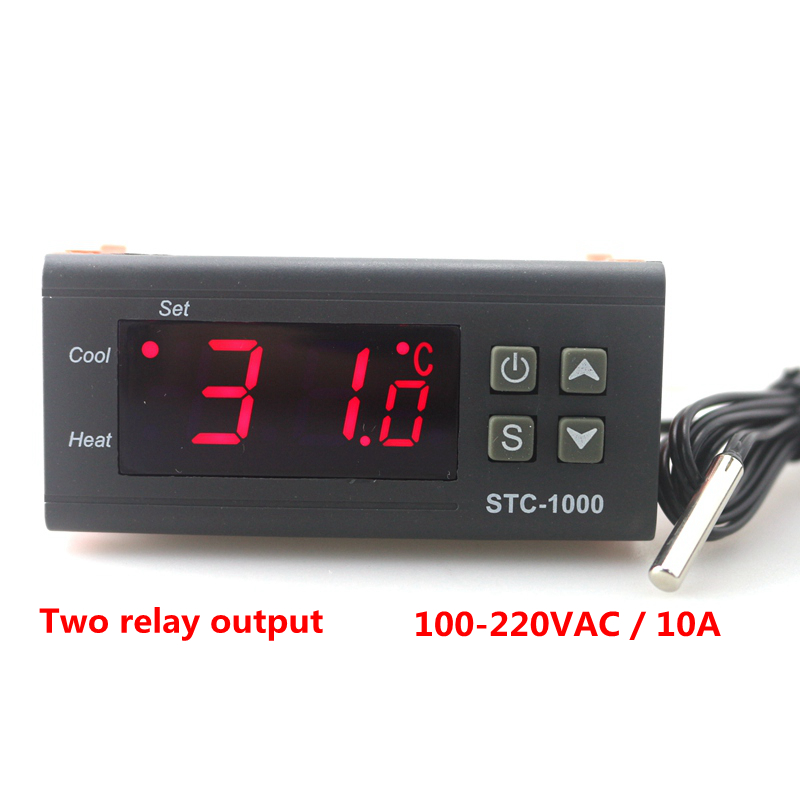 Two Relay Output LED Digital Temperature Controller Thermostat Incubator STC-1000 110V 220V 10A with Heater and Cooler