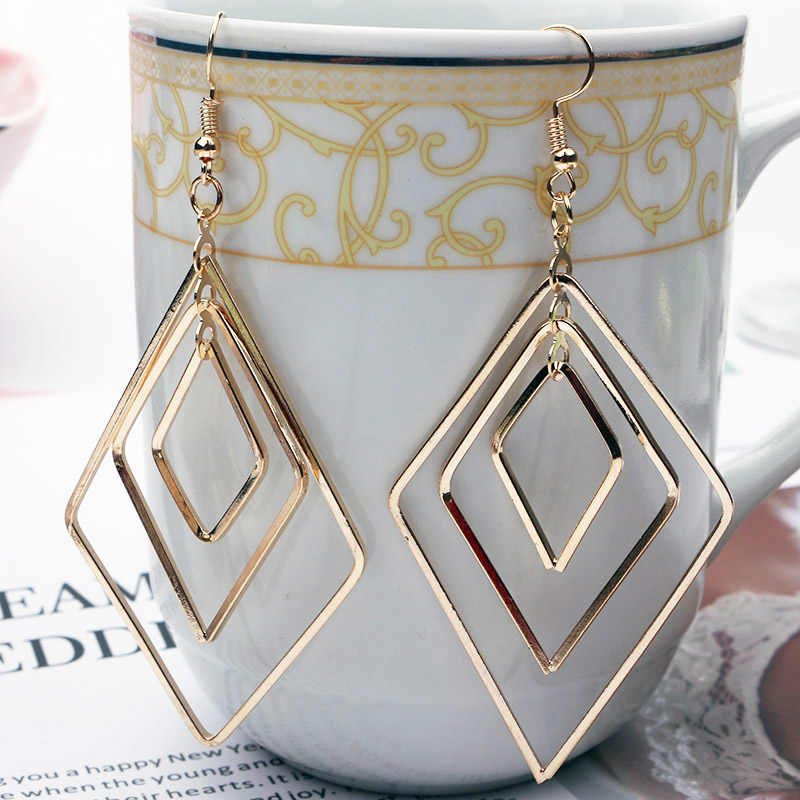 ES247 New Trend Jewelry Drop Earrings Simple Fashion Hollow Geometric Metal Earrings Temperament Personality Wild Ladies Earring