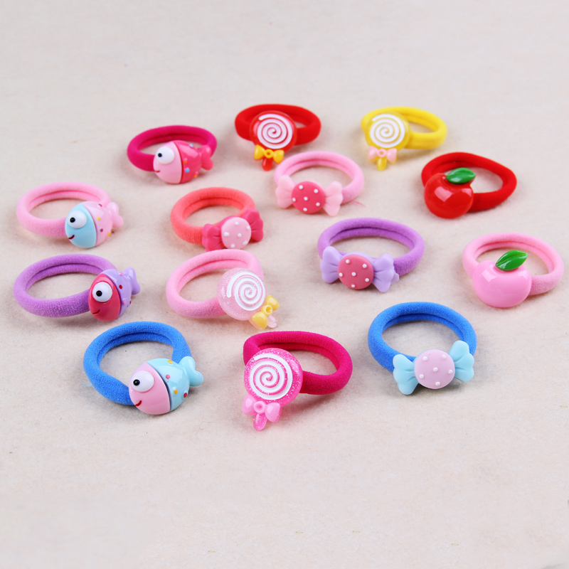 4PCS New Candy Lollipops Elastic Hair Bands For Little Girls Cotton Blends Hair Rope Kids Rubber Band Children Hair Accessories new fashion cute double ball hair ring candy color rubber bands hair rope hair accessories for women girl children kids