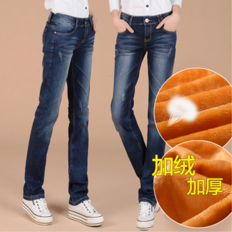 Plus Thick Velvet Women Straight   Jeans   Denim Trousers Casual Pants New Winter Clothing Warm Pants Denim   Jeans   Plus Size Pants