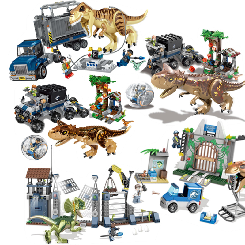 2018 Compatible legoed Jurassic World Sets 4 park 3 Dinosaurs Toys T-Rex Blocks Building Bricks Child boy kids owen pteranodon все наборы лего мира юрского периода