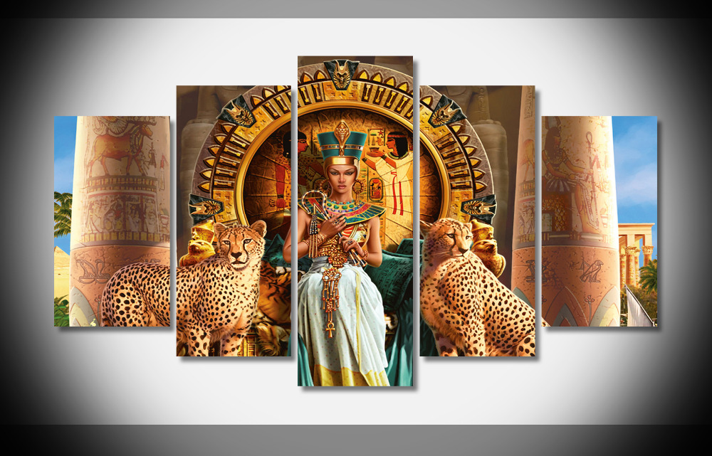 8033 Cleopatra VII Philopator pharaoh Ancient Egypt Ptolemaic dynasty Egyptian animals poster Framed Gallery wrap art print home