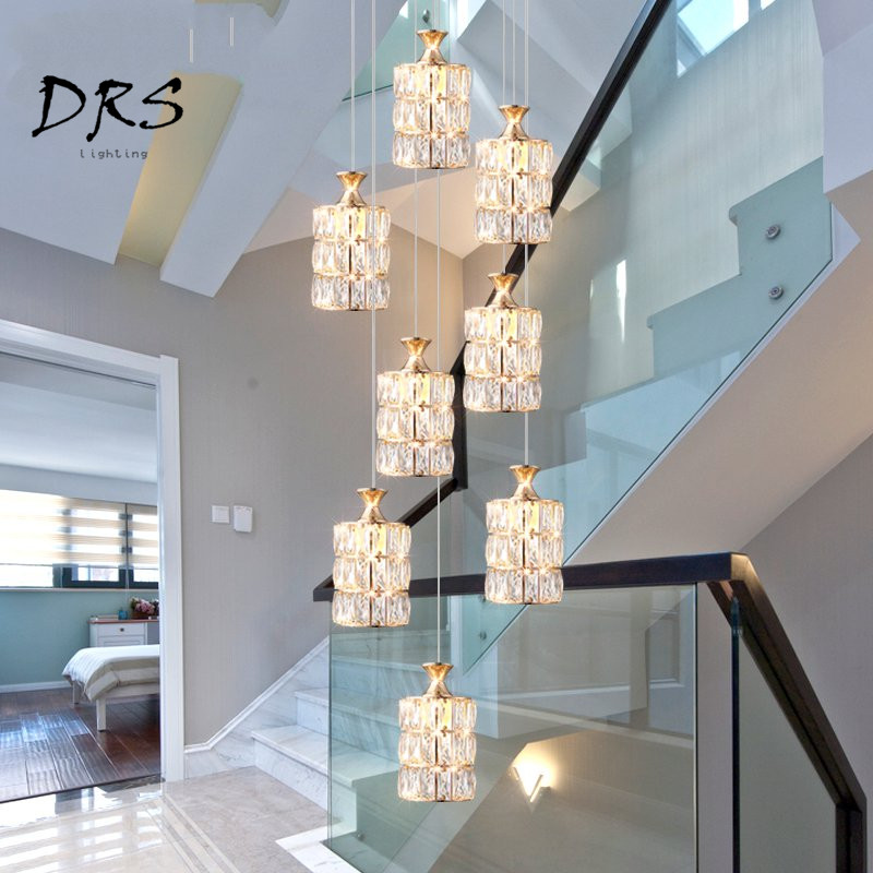 Staircase Led Chandelier Modern Minimalist Restaurant Pendant Lamp Creative Villa Duplex Building Rotating Crystal Deco Lights