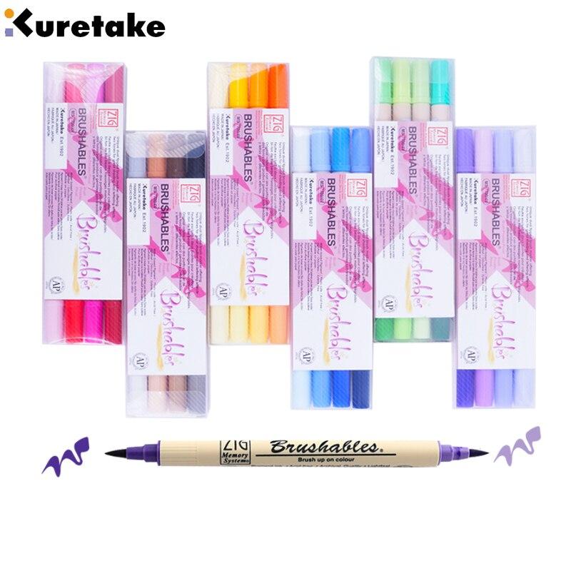 ZIG Kuretake Brush Pen Permanent markers waterproof paint marker pen textile marker Fineliner Set Twin Tip brush for drawing art
