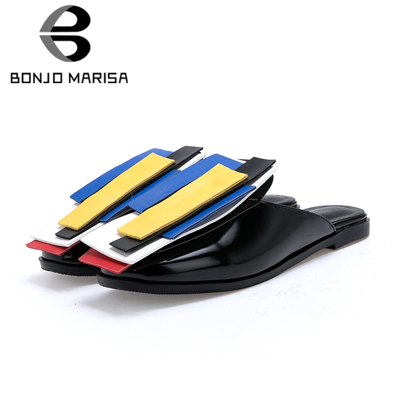 BONJOMARISA Brand Colorful Summer Slides Women 2019 Large Size 32 43 Hot Sale Casual Low Heels Women Slippers Shoes Woman
