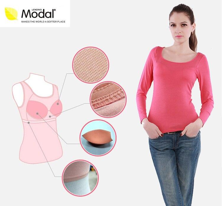 Modal Kadin Moda Şeker Ayarlanabilir Askı Dahili Sutyen Yastıklı Kaşkorse Cami Bayanlar Yaz uzun kollu sutyen gömlek Tops