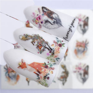 Image 2 - 1 PC Nail Sticker Wolf Deer Flower Water Transfer Decal Sliders for Nail Art Decoration Tattoo Manicure Wraps Tools Tip