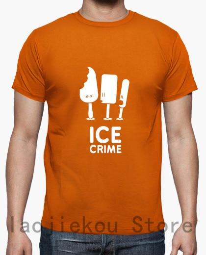 New Fashion 100% Cotton Funny Men T Shirt Women Fashion Tshirt Ice Crime T-shirt Unisex Cool White And Black Shirts Men's Clothing Tops & Tees