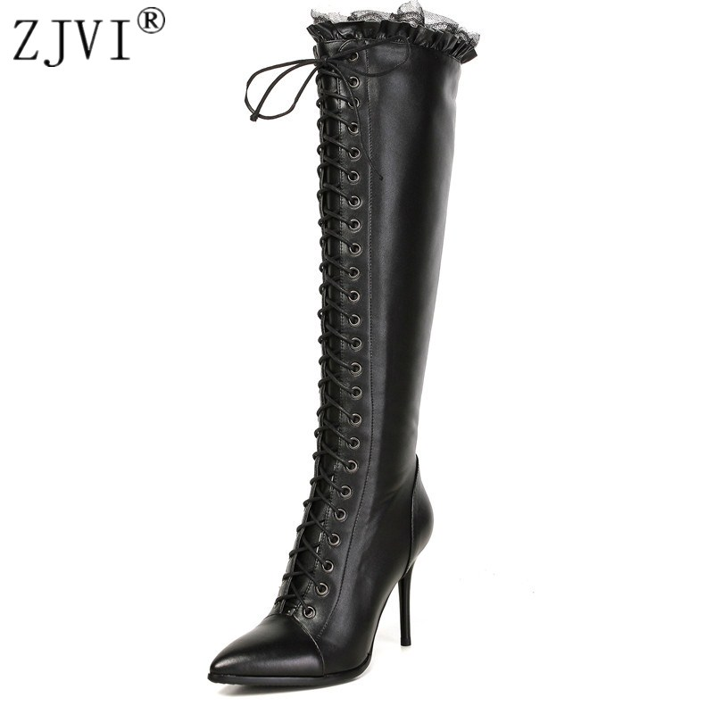ZJVI womens Genuine Leather knee high boots women pointed toe Motorcycle thigh high boots woman thin high Heels shoes zjvi women suede stretch high heels over the knee boots woman genuine leather thigh high boots 2018 pointed toe winter shoes