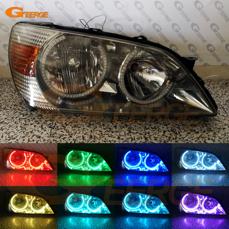 For Toyota Altezza SXE10 Gita (Japan) headlight Excellent Multi-Color Ultra bright RGB LED Angel Eyes kit Halo Rings new 2pcs lot led multi color high bright 360 degree smd demon led halo rings kit devil eye for all car projector headlight
