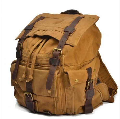 Mens Military Canvas Leather Backpack Rucksack School Bag Satchel European Style backpack european american vintage men casual canvas leather backpack rucksack satchel bag school bag 5 color high quality 15