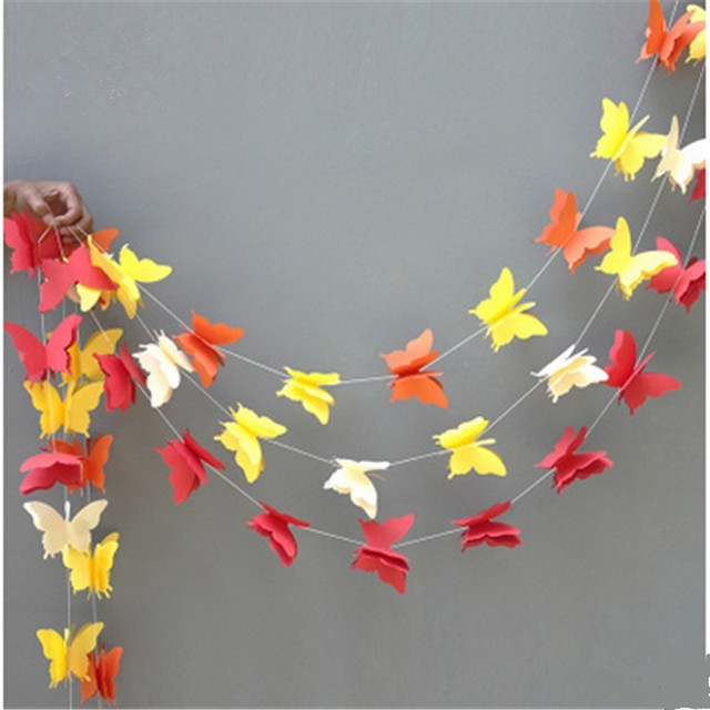 1pcs 28m Butterfly Balloon Paper Garlands Colorful Christmas Wedding Party Banner Hanging Garland Room