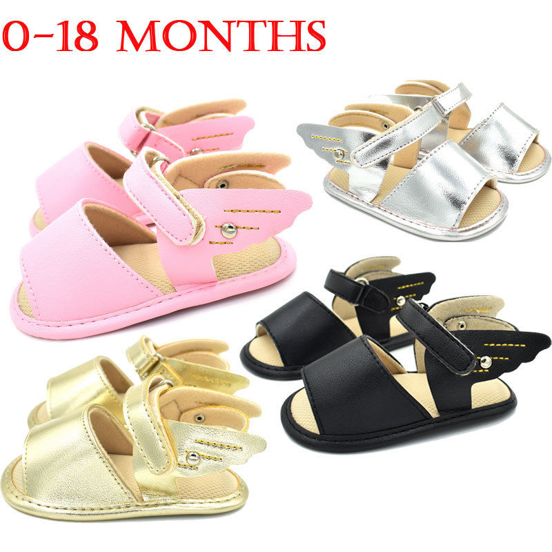 Cute Angel Wing Newborn Infant Toddler Baby Boy Shoes Soft Crib Shoes PU Leather Soft Sandals Anti-slip Summer Hot