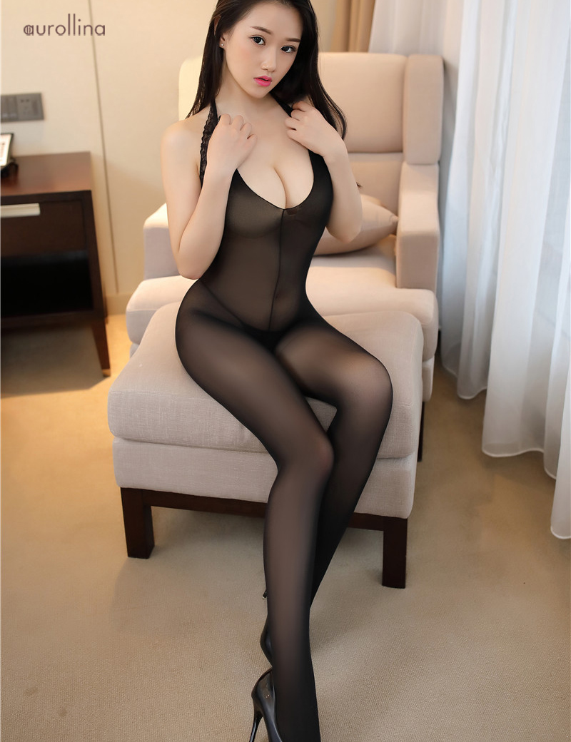 Gorgeous Babe Hot Nylon Bodystocking Sex Tempted Doggie Style Open Crotch Lingerie Stockings Lace Embroidery (5) -