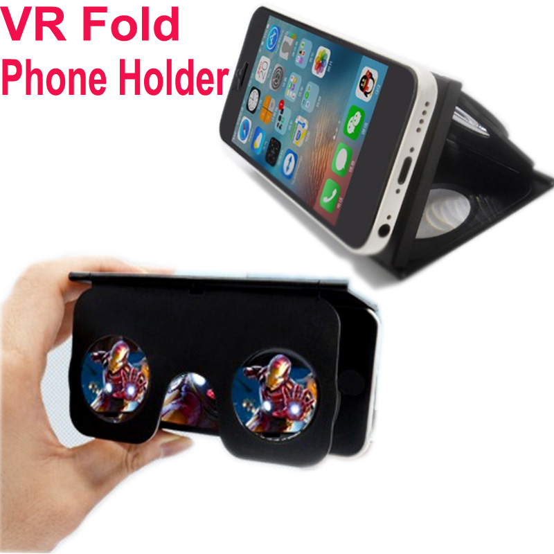 VR Fold Foldable VR Virtual Reality 3D Glasses Google Cardboard VR BOX Phone Holder for Android iPhone Samsung 3.5-6 inch