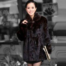 Top Quality Natural Mink Fur Coats Women Plus Size Real Fur Middle Long Coat Coffee Oversized Genuine Mink Fur Outwear Overcoat