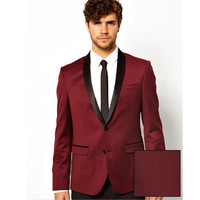 High Quality Customized Tuxedos Mens Suits Design Male Best Man Suits Wine Red Three Pieces Suit