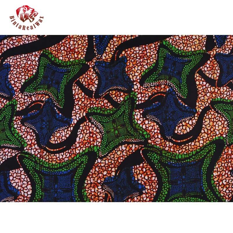 Qualité garantie véritable tissus africains néerlandais réel nouveau bintarealwax vraie cire vêtements africains 100% coton 6 Yards PL487 - 2