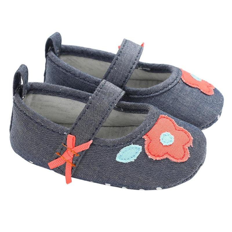 Spring Autumn Newborn Baby Shoes Infant Toddler Girl Soft Non-slip Sole Flower First Walkers Cotton Cloth Prewalker