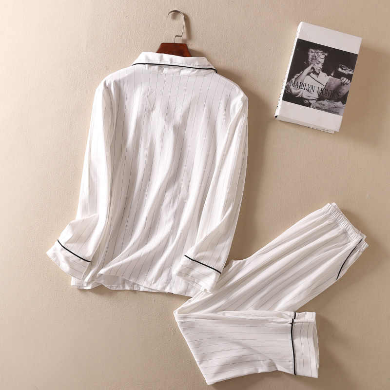 c8770fd75a ... White Striped Pajamas Sets Women 2019 Casual Cotton Long Sleeve  Sleepwear Suit 2 piece Sexy Spring ...
