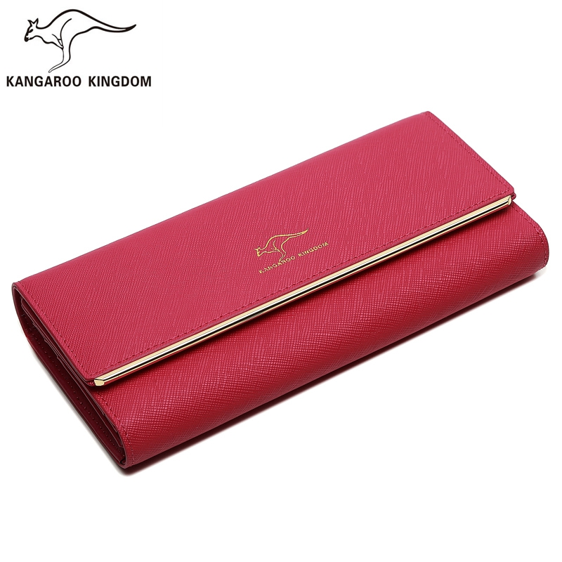 KANGAROO KINGDOM fashion split leather women wallets long hasp trifold purse brand lady clutch card holder wallet casual weaving design card holder handbag hasp wallet for women